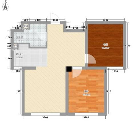 外滩九号2室1厅1卫0厨74.00㎡户型图