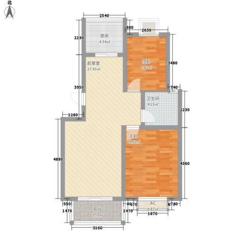 华美生态园2室0厅1卫1厨89.00㎡户型图
