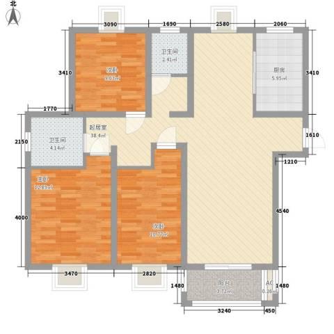 华美生态园3室0厅2卫1厨126.00㎡户型图