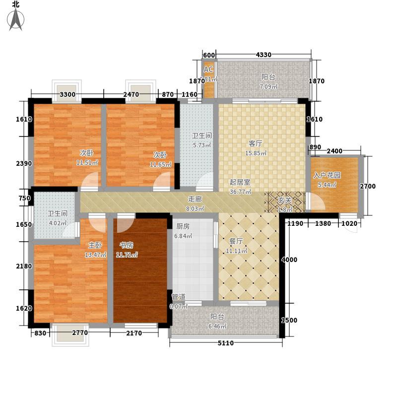 天华名城户型图一期B-01户型 4室2厅2卫1厨
