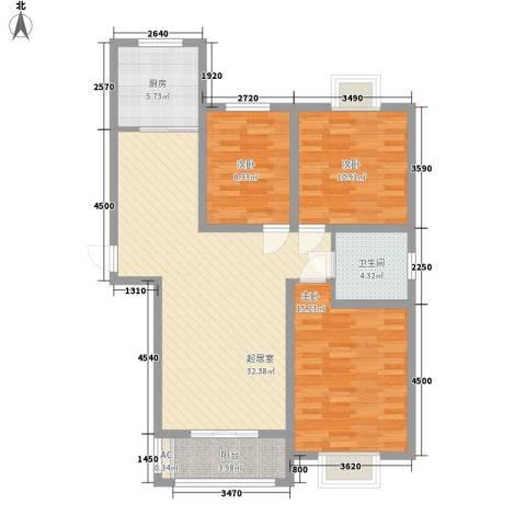 华美生态园3室0厅1卫1厨116.00㎡户型图