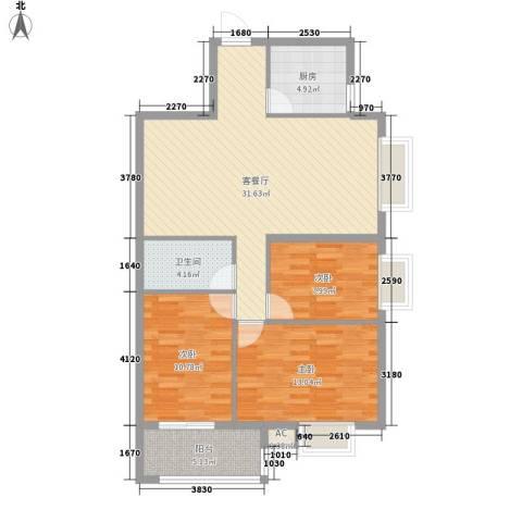 金域蓝郡3室1厅1卫1厨108.00㎡户型图