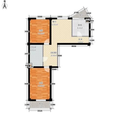 圆缘雅居2室0厅1卫1厨78.00㎡户型图
