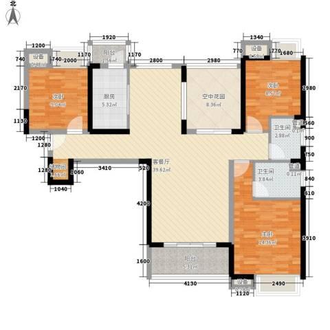 东莞长安万达广场3室1厅2卫1厨100.41㎡户型图