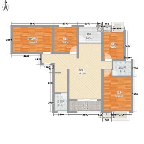 金域蓝郡3室1厅2卫1厨119.00㎡户型图