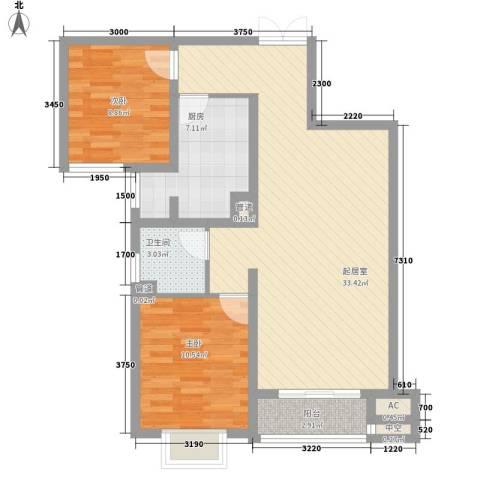 北郡景城2室0厅1卫1厨77.87㎡户型图