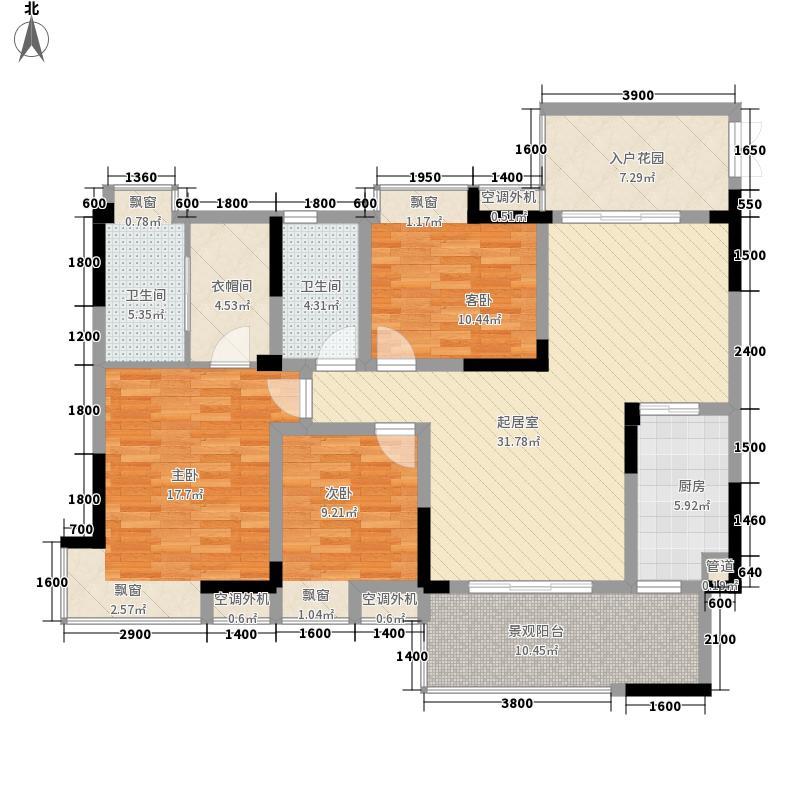 鲁能星城5街区1单元1号房M3室户型3室2厅