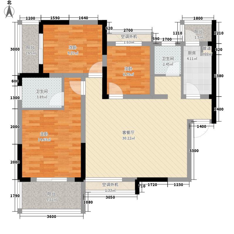 钱隆首府113.86㎡二期A户型3室2厅