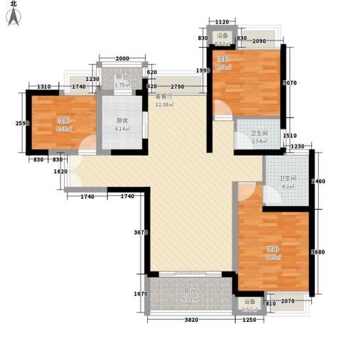 东莞长安万达广场3室1厅2卫1厨111.00㎡户型图