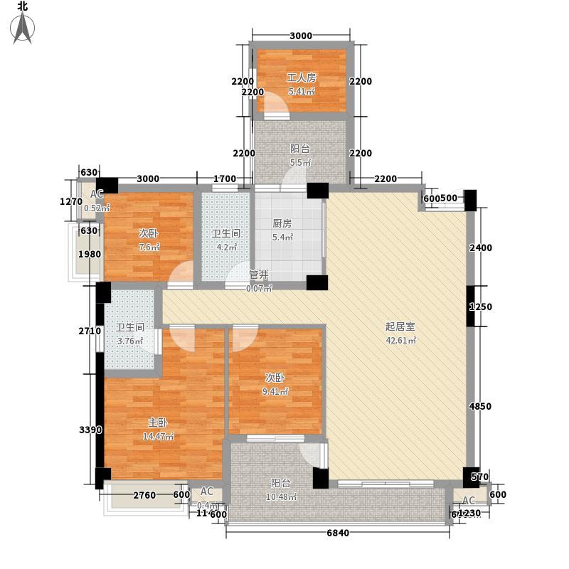 红馆130.00㎡P1型户型4室2厅2卫1厨