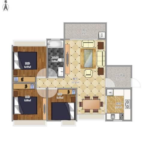 金色家园户型3室1厅1卫1厨87.00㎡户型图