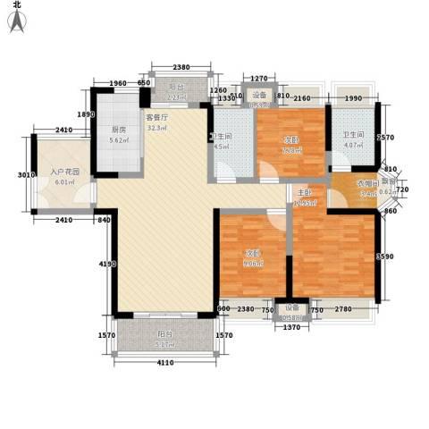 东莞长安万达广场3室1厅2卫1厨131.00㎡户型图