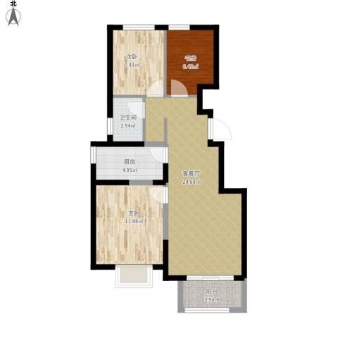 旭辉澜郡3室1厅1卫1厨89.00㎡户型图