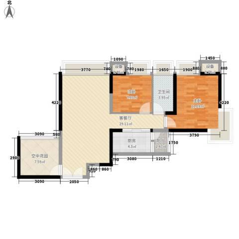 东莞长安万达广场2室1厅1卫1厨93.00㎡户型图