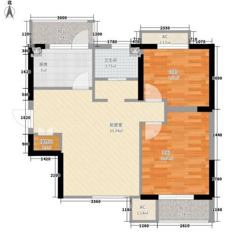 万科新里程2室0厅1卫1厨60.06㎡户型图