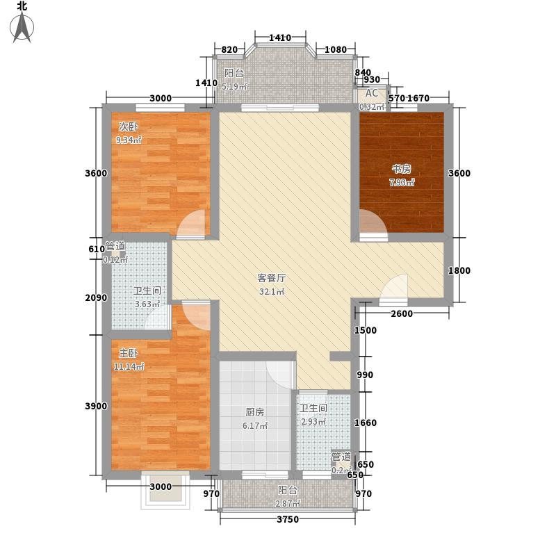 九里欣园101.10㎡户型3室2厅2卫1厨