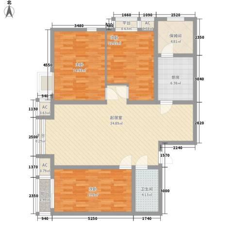翰林观天下3室0厅1卫1厨136.00㎡户型图