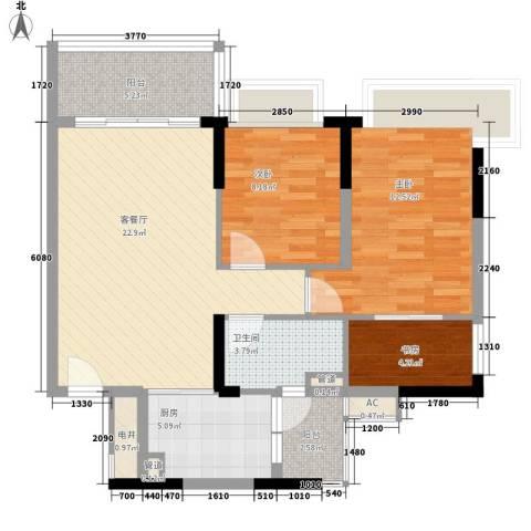 恒大山水城别墅3室1厅1卫1厨90.00㎡户型图