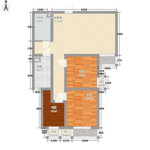 翰林观天下3室0厅1卫1厨99.00㎡户型图