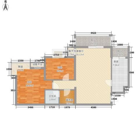 北京青年城2室1厅1卫1厨112.00㎡户型图