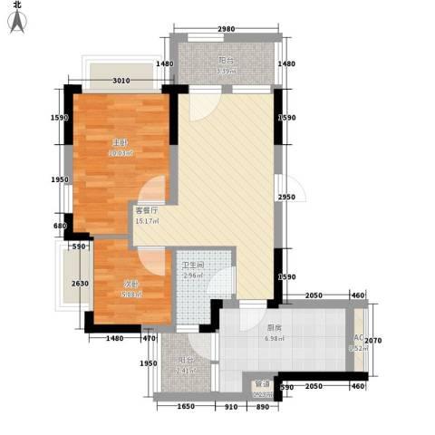 恒大山水城别墅2室1厅1卫1厨70.00㎡户型图