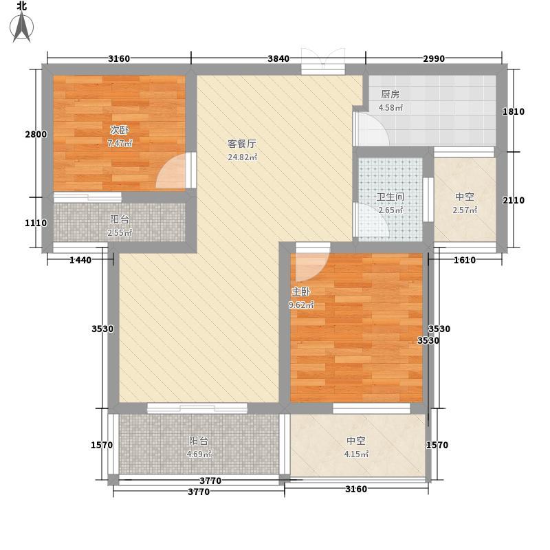 荣昌绿园82.60㎡二期高层A户型2室2厅1卫1厨