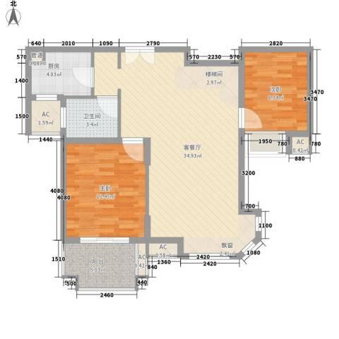 南通中央商务区2室1厅1卫1厨102.00㎡户型图
