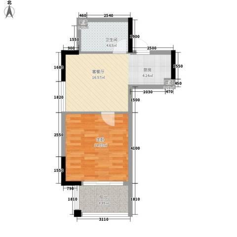 奥园温泉别墅1室1厅1卫0厨52.00㎡户型图