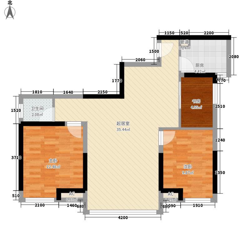 泛宇邕江一品8.43㎡4#、5#楼A2户型3室2厅1卫1厨