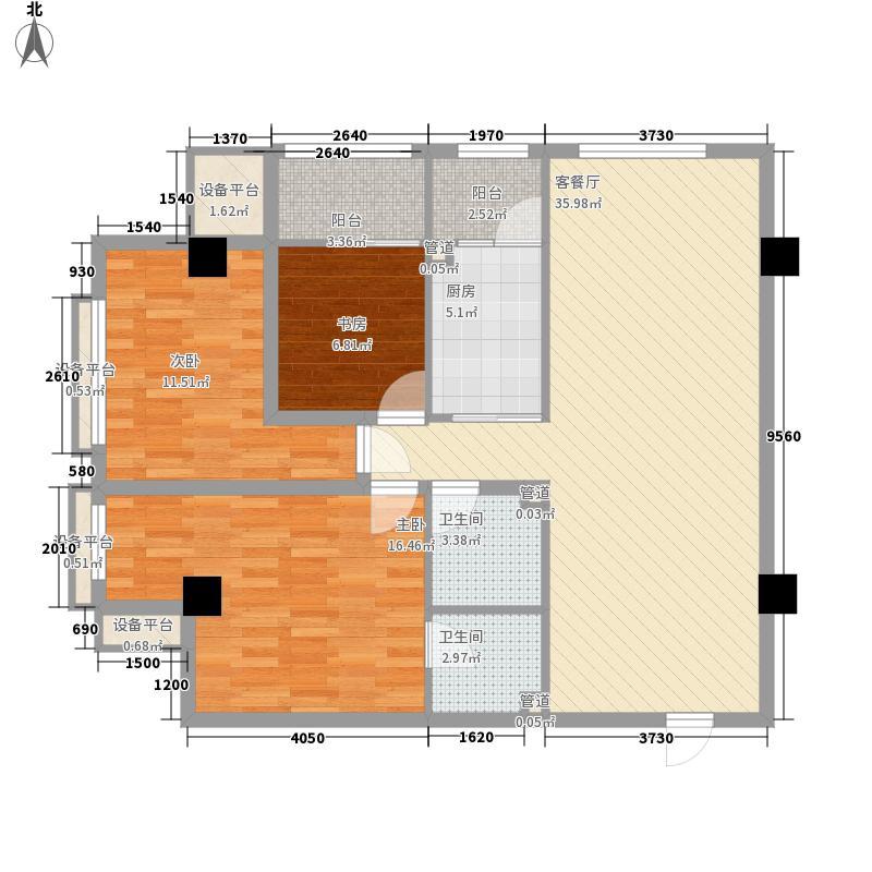德润苑121.31㎡E户型3室2厅2卫1厨