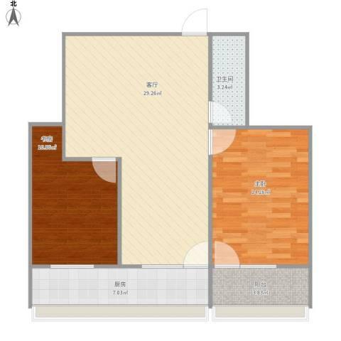 东环花园2室1厅1卫1厨92.00㎡户型图