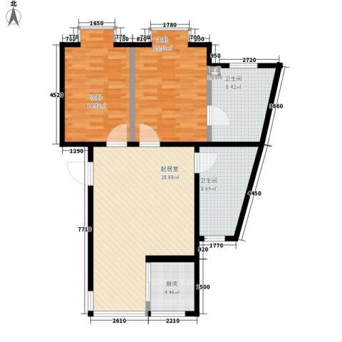 温泉桃花城2室0厅2卫1厨90.00㎡户型图