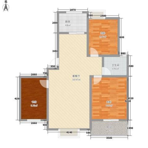 兴港商城3室1厅1卫1厨89.60㎡户型图