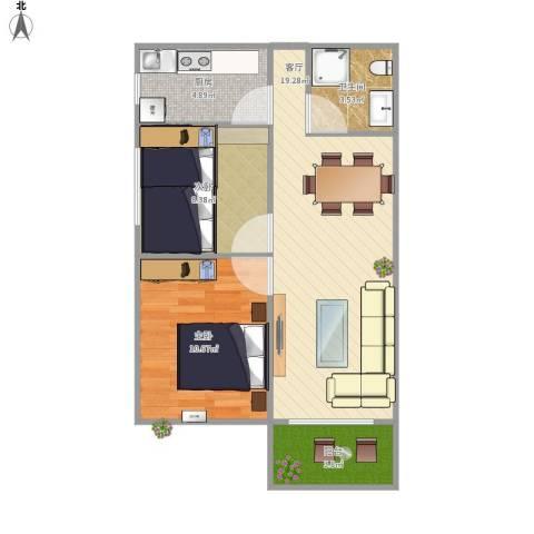 奥龙湾2室1厅1卫1厨69.00㎡户型图