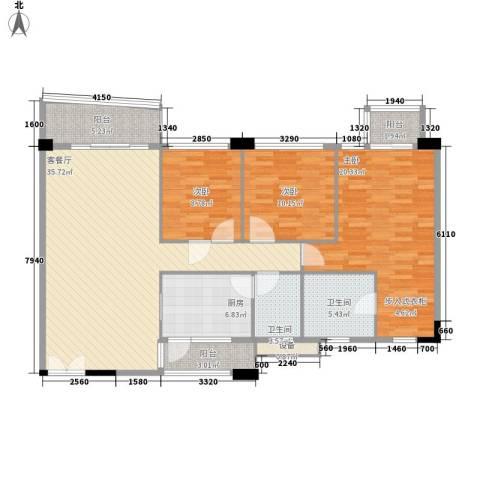 庄士新都二期3室1厅2卫1厨127.00㎡户型图