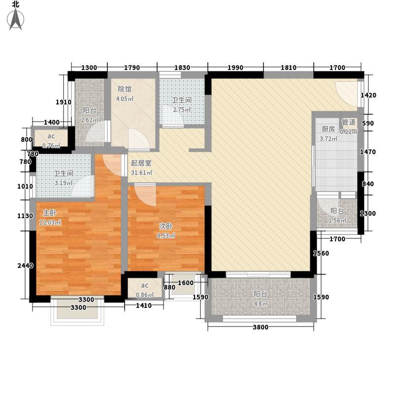 北大资源博雅高层8号楼F户型2室
