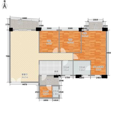 庄士新都二期3室1厅3卫1厨141.00㎡户型图
