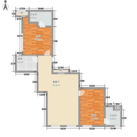 龙禧中心2室1厅2卫1厨111.00㎡户型图