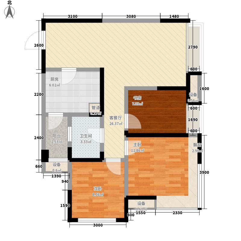 首创百朗峰85.00㎡A1型户型3室2厅1卫1厨