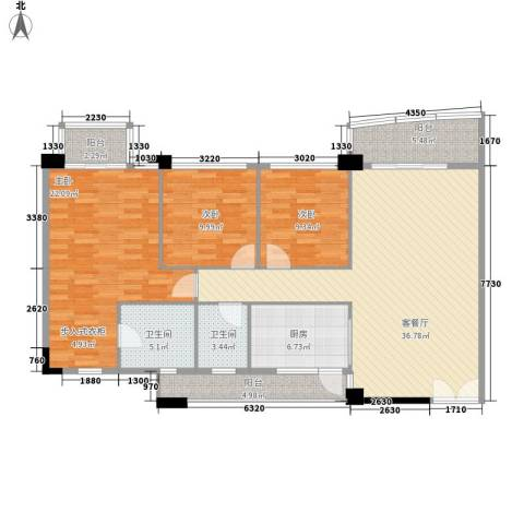 庄士新都二期3室1厅2卫1厨137.00㎡户型图