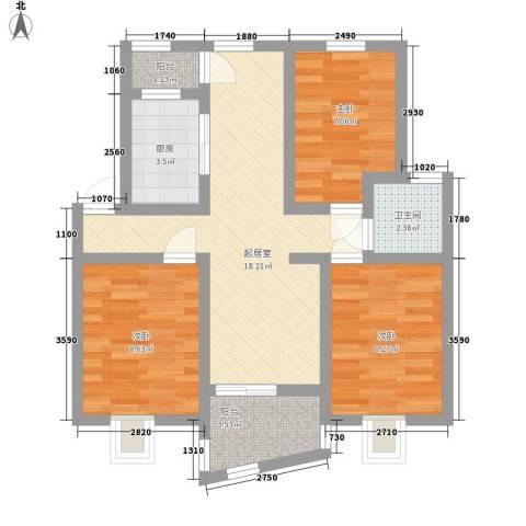 瑶东北村3室0厅1卫1厨80.00㎡户型图