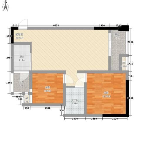 尚高・锦都2室0厅1卫1厨87.00㎡户型图