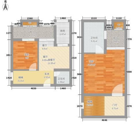 玛雅上层2室1厅2卫1厨67.00㎡户型图