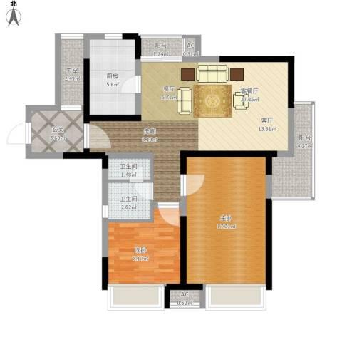金地格林世界森林公馆2室1厅2卫1厨88.00㎡户型图