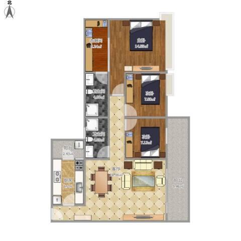 丽景花园3室1厅2卫1厨122.00㎡户型图