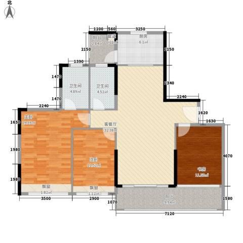 丰泰城市公馆3室1厅2卫1厨123.00㎡户型图