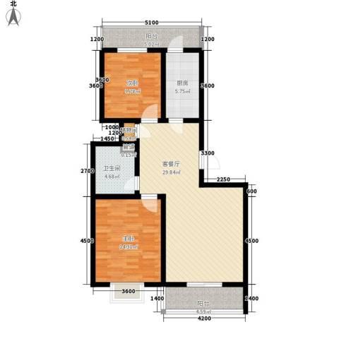 富水一方2室1厅1卫1厨109.00㎡户型图