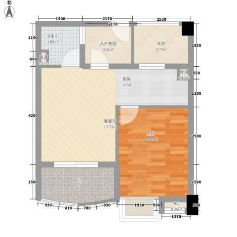 顺泽・翠屏湾1室1厅1卫0厨43.81㎡户型图