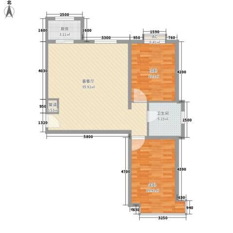 碧水蓝山2室1厅1卫1厨103.00㎡户型图