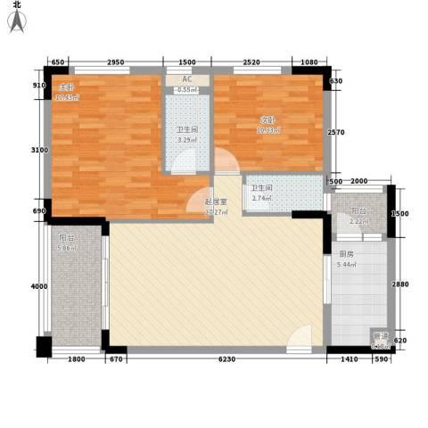 雅宝新城别墅2室0厅2卫1厨107.00㎡户型图